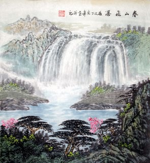 Chinese Waterfall Painting,50cm x 55cm,1146007-x