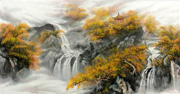 Chinese Waterfall Painting,69cm x 138cm,1147001-x