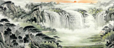 Chinese Waterfall Painting,96cm x 240cm,1147002-x