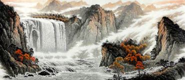 Chinese Waterfall Painting,96cm x 240cm,1147005-x