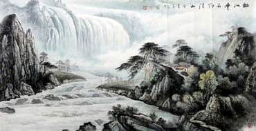 Chinese Waterfall Painting,66cm x 136cm,1147007-x