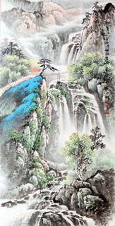 Chinese Waterfall Painting,69cm x 138cm,1148001-x