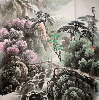 Chinese Waterfall Painting,66cm x 66cm,1148003-x