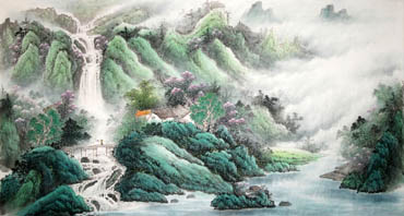 Chinese Waterfall Painting,97cm x 180cm,1149009-x