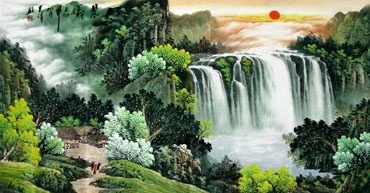 Chinese Waterfall Painting,66cm x 136cm,1151007-x