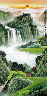 Chinese Waterfall Painting,69cm x 138cm,1151009-x