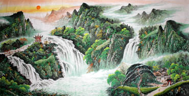 Chinese Waterfall Painting,120cm x 240cm,1152001-x