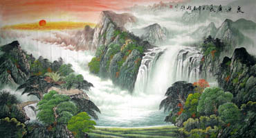 Chinese Waterfall Painting,97cm x 180cm,1152002-x