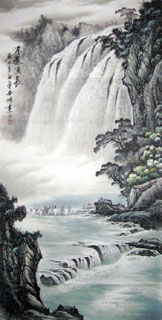 Chinese Waterfall Painting,66cm x 136cm,1155004-x
