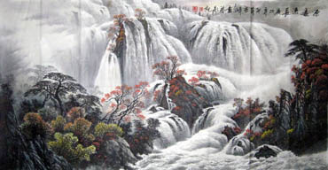 Chinese Waterfall Painting,66cm x 136cm,1155005-x