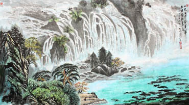 Chinese Waterfall Painting,97cm x 180cm,1155007-x