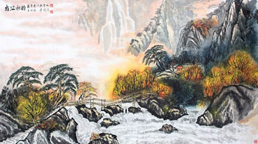 Chinese Waterfall Painting,97cm x 180cm,1155008-x