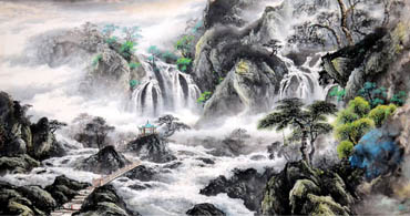 Chinese Waterfall Painting,97cm x 180cm,1155011-x