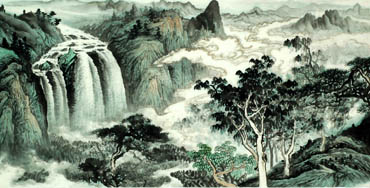 Chinese Waterfall Painting,66cm x 136cm,1157001-x