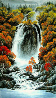 Chinese Waterfall Painting,96cm x 170cm,1157004-x