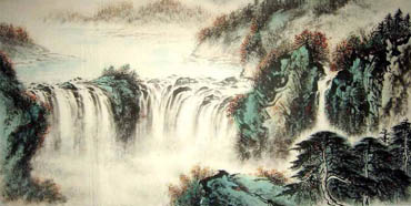 Chinese Waterfall Painting,66cm x 136cm,1157005-x