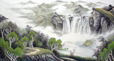 Chinese Waterfall Painting,97cm x 180cm,1158001-x