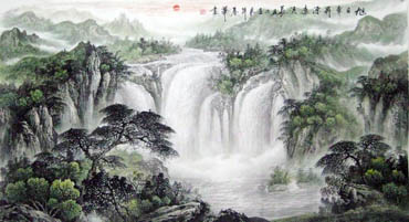 Chinese Waterfall Painting,97cm x 180cm,1159001-x