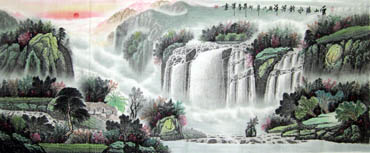 Chinese Waterfall Painting,96cm x 240cm,1159002-x