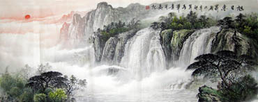 Chinese Waterfall Painting,70cm x 180cm,1159003-x