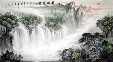 Chinese Waterfall Painting,97cm x 180cm,1159004-x