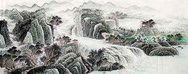 Chinese Waterfall Painting,96cm x 240cm,1161001-x