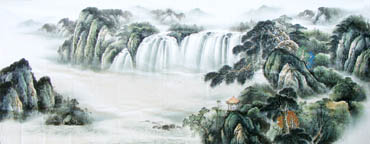 Chinese Waterfall Painting,140cm x 360cm,1161002-x