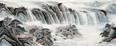 Chinese Waterfall Painting,96cm x 240cm,1161003-x
