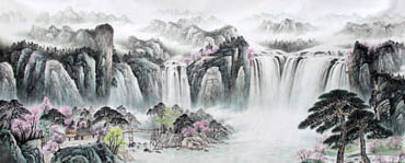 Chinese Waterfall Painting,140cm x 360cm,1161004-x