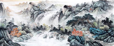 Chinese Waterfall Painting,96cm x 240cm,1161005-x