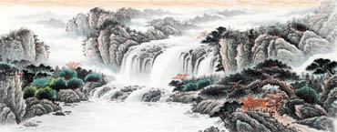 Chinese Waterfall Painting,70cm x 180cm,1161006-x