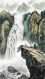 Chinese Waterfall Painting,50cm x 100cm,1162001-x