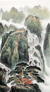 Chinese Waterfall Painting,50cm x 100cm,1162005-x