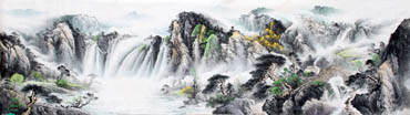 Chinese Waterfall Painting,96cm x 330cm,1162006-x