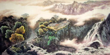 Chinese Waterfall Painting,66cm x 136cm,1332008-x