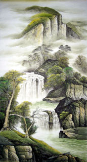 Chinese Waterfall Painting,97cm x 180cm,1332012-x