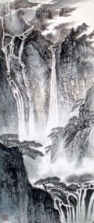 Chinese Waterfall Painting,56cm x 136cm,1452010-x