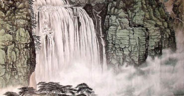 Chinese Waterfall Painting,97cm x 180cm,1452013-x