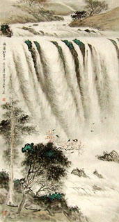Chinese Waterfall Painting,46cm x 90cm,1452014-x