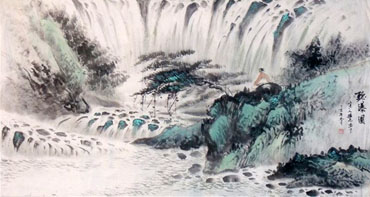 Chinese Waterfall Painting,55cm x 100cm,1452020-x