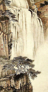 Chinese Waterfall Painting,55cm x 100cm,1452021-x