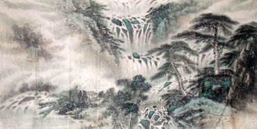 Chinese Waterfall Painting,66cm x 130cm,1452022-x