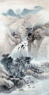 Chinese Waterfall Painting,40cm x 80cm,1452023-x