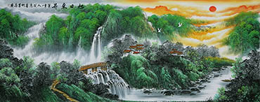 Chinese Waterfall Painting,96cm x 236cm,cyd11123001-x
