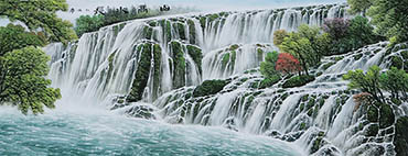 Chinese Waterfall Painting,70cm x 175cm,cyd11123008-x