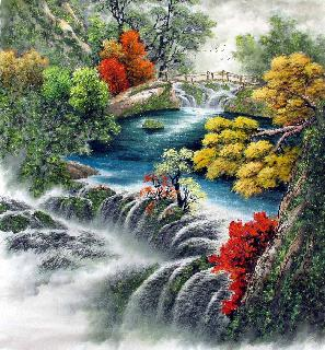 Chinese Waterfall Painting,96cm x 96cm,shw11093001-x