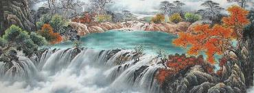 Chinese Waterfall Painting,70cm x 180cm,shw11093002-x