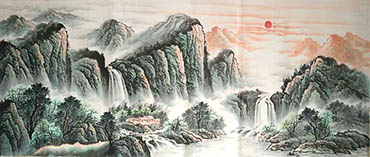 Chinese Waterfall Painting,70cm x 180cm,xll1001003-x