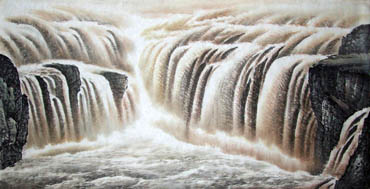 Chinese Yellow River Painting,69cm x 138cm,1007010-x