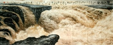 Chinese Yellow River Painting,96cm x 240cm,1097001-x
